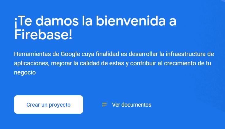 Pantalla para crear proyecto en Google Firebase