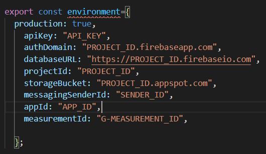 Parámetros de configuración de Firebase