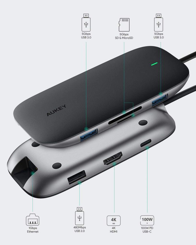 AUKEY USB C Hub 8 en 1