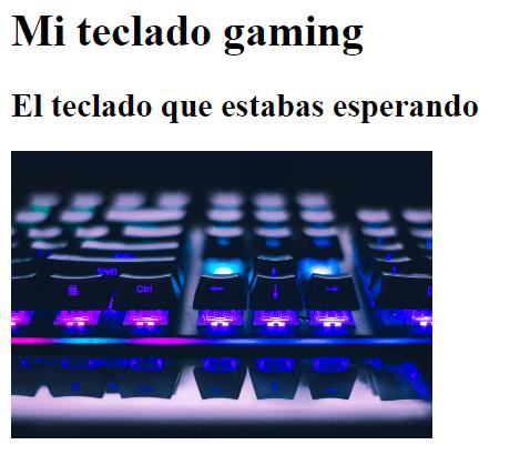 Imagen de título, subtítulo e imagen en una web