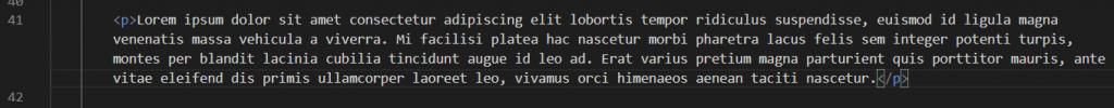 Texto maquetado en Visual Studio Code con Toggle Word Wrap