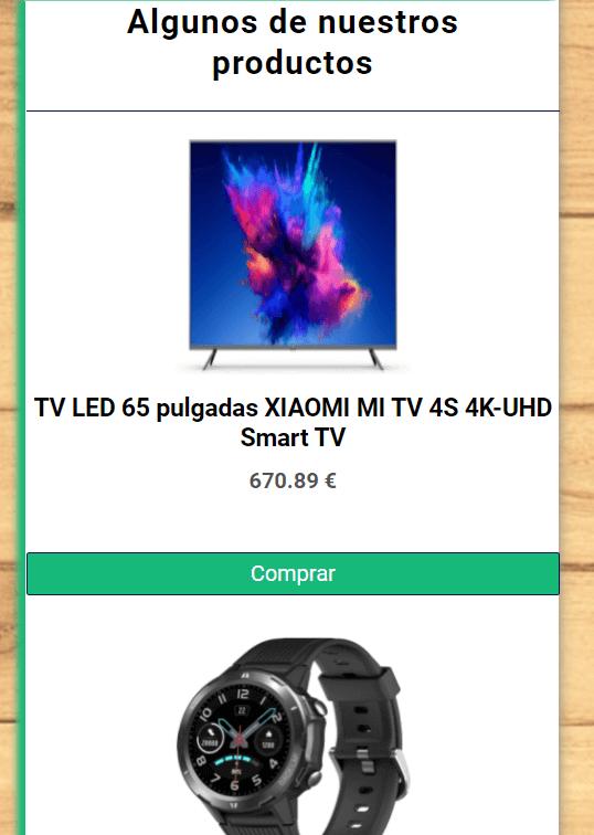 Ejemplo de productos de la home de una tienda online