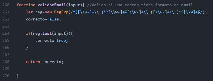 Ejemplo de código para validar email