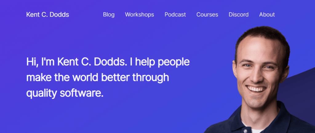 Home de la web de Kent C. Dodds, padre de React Testing Library